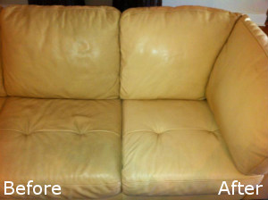 Before and After Leather Sofa